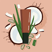 Vector illustration of a moisturizer on a background of coconuts and aloe. Scarlet green. Beauty industry. Beauty business. Cosmetology product presentation.