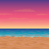 Vector illustration of a morning or twilight beach