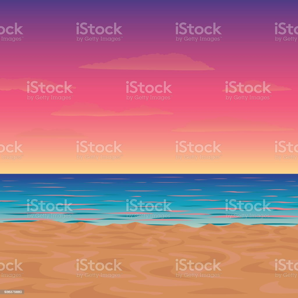 Vector illustration of a morning or twilight beach vector art illustration