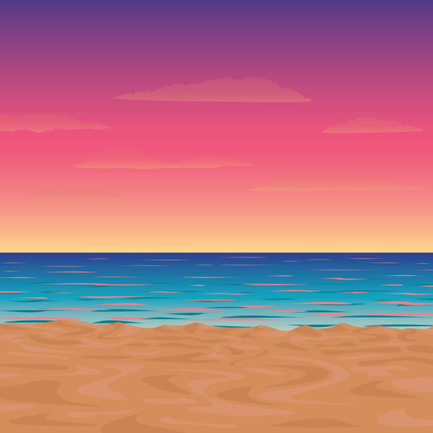 vector illustration of a morning or twilight beach - zachód słońca stock illustrations