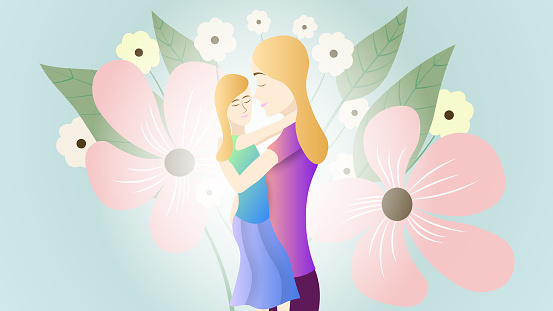 Vector illustration of a mother and daughter