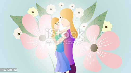 istock Vector illustration of a mother and daughter 1271288142