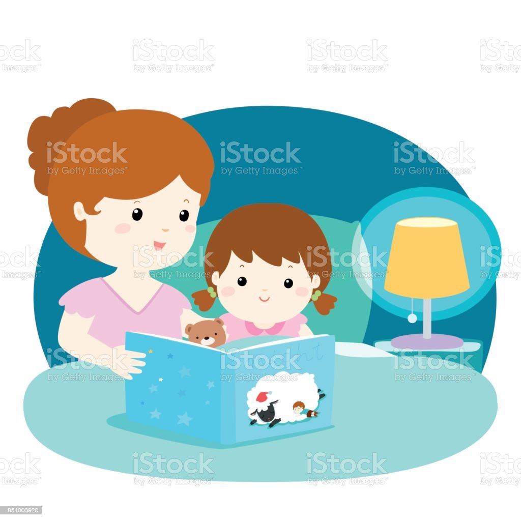 A vector illustration of a mother reading a bedtime story to her daughter. vector art illustration