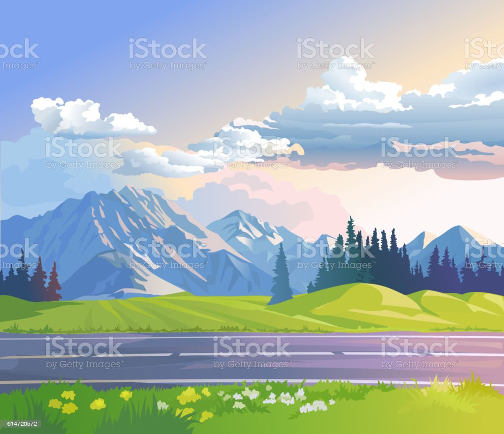 Vector illustration of a mountain landscape - Illustration vectorielle