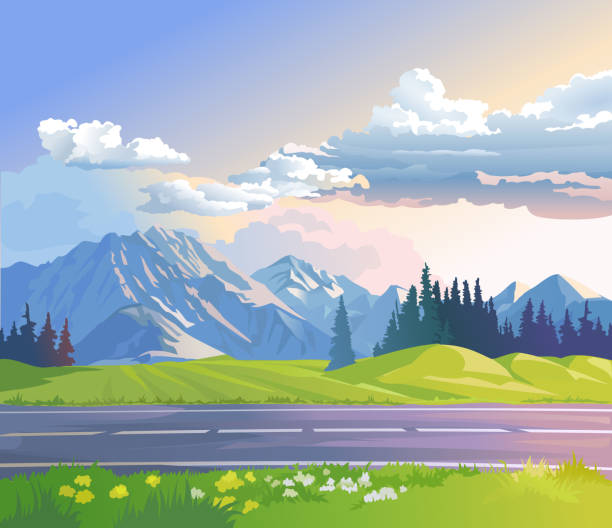 vector illustration of a mountain landscape - панорамный stock illustrations