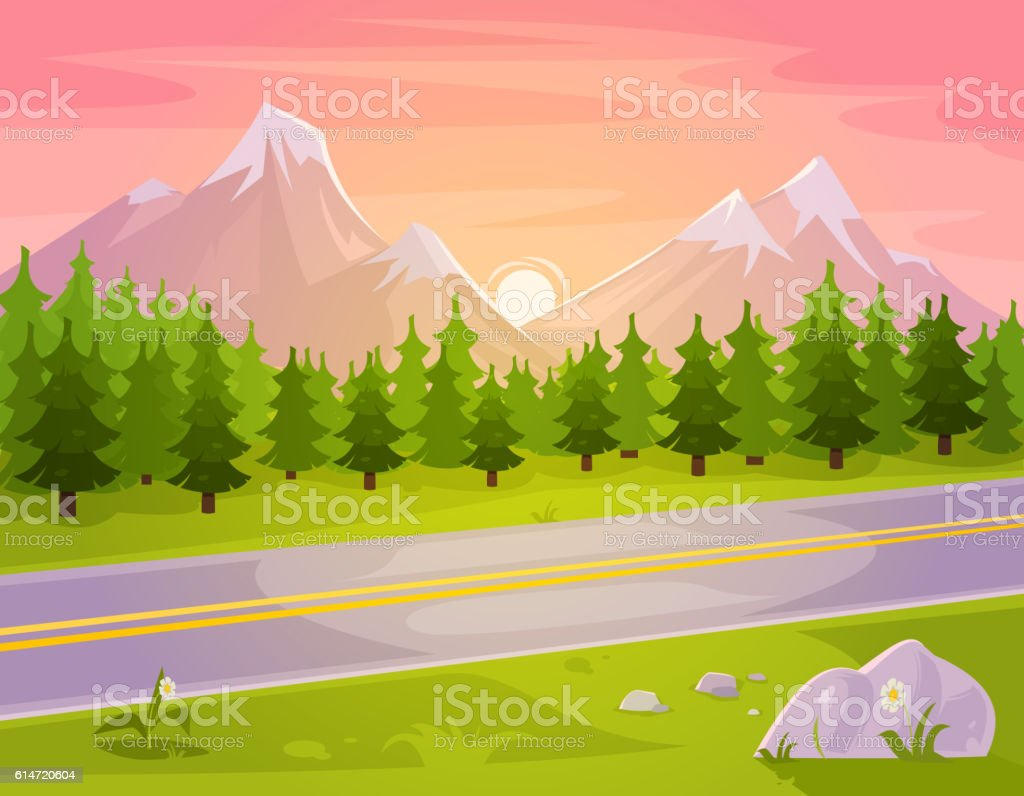 Landscape Illustration Vector Free: Vector Illustration Of A Mountain Landscape Stock