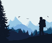 Vector illustration of a mountain landscape with a forest and flying birds and a tourist under a blue-gray sky