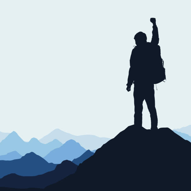 Vector illustration of a mountain landscape with a realistic silhouette of a climber at the top of a rock with a winning gesture under a blue sky Vector illustration of a mountain landscape with a realistic silhouette of a climber at the top of a rock with a winning gesture under a blue sky mountain climbing stock illustrations