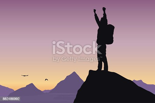 Vector illustration of a mountain landscape with a tourist on top of rock celebrating success with raised hands