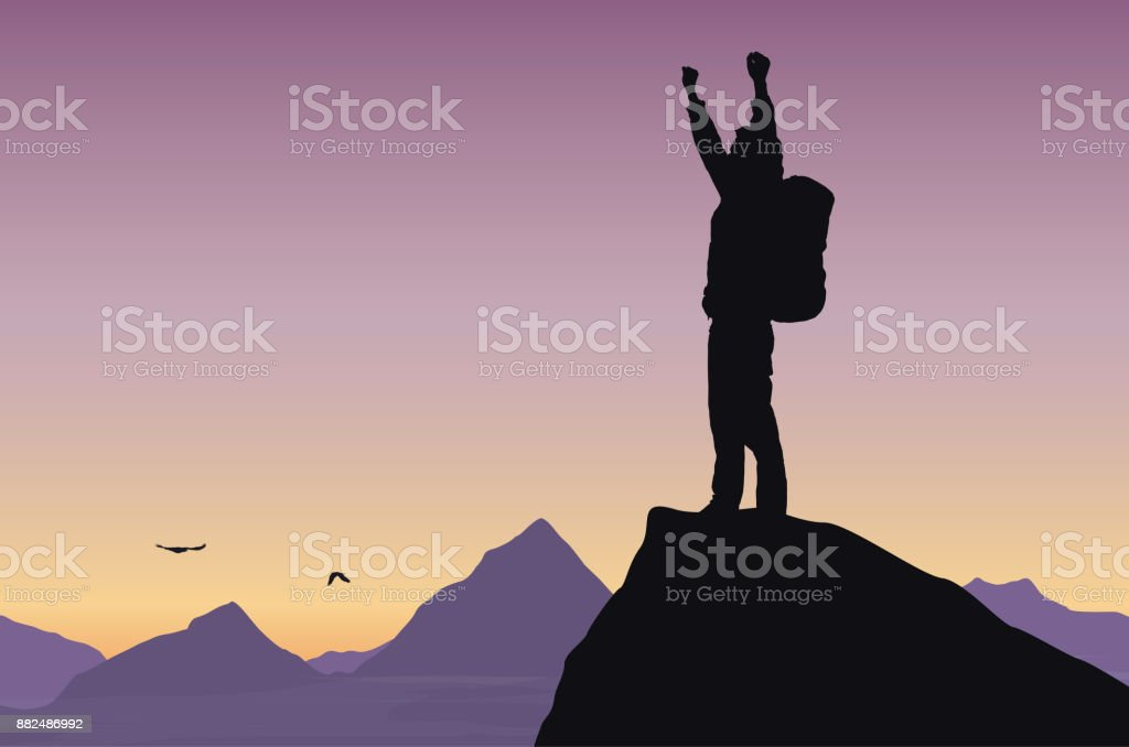 Illustration vectorielle d'un paysage de montagne avec un touriste sur rocher célèbre succès avec mains surélevées - Illustration vectorielle