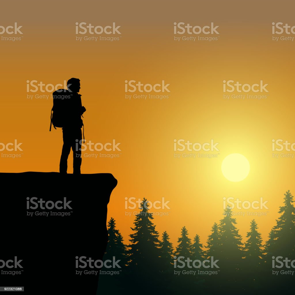 Vector illustration of a mountain landscape with a tourist on top of rock celebrating success with raised hands vector art illustration