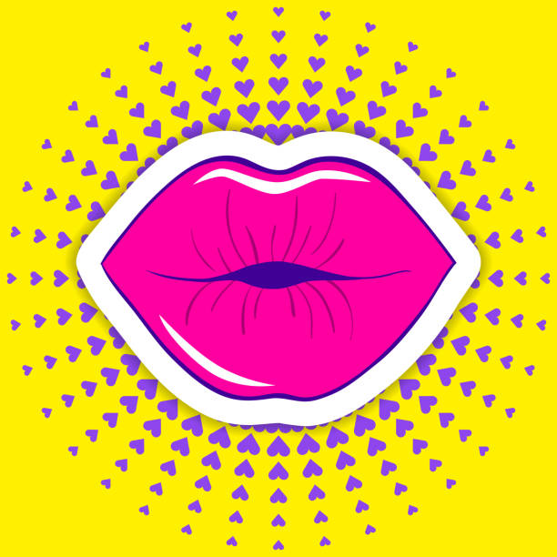 Vector illustration of a mouth Cartoon style female lips on a colorful background. 80s-90s style vector illustration of a mouth with a smile. pecking stock illustrations