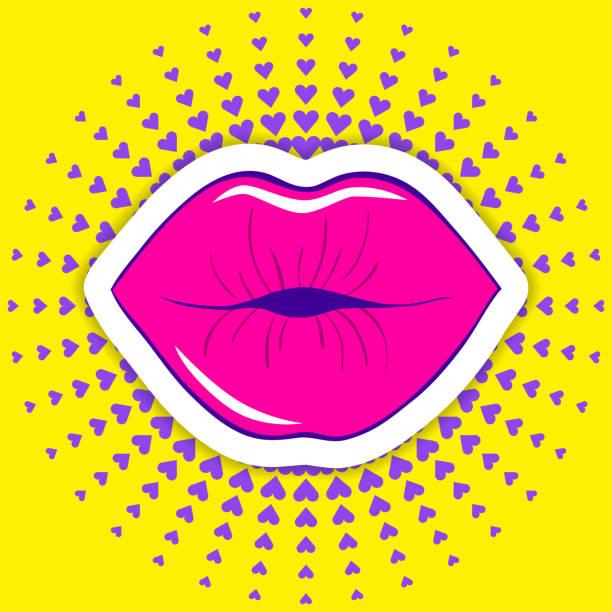 stockillustraties, clipart, cartoons en iconen met vector illustratie van een mond - kussen met de mond