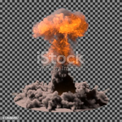 Vector Illustration of a mushroom cloud following a nuclear explosion on transparency