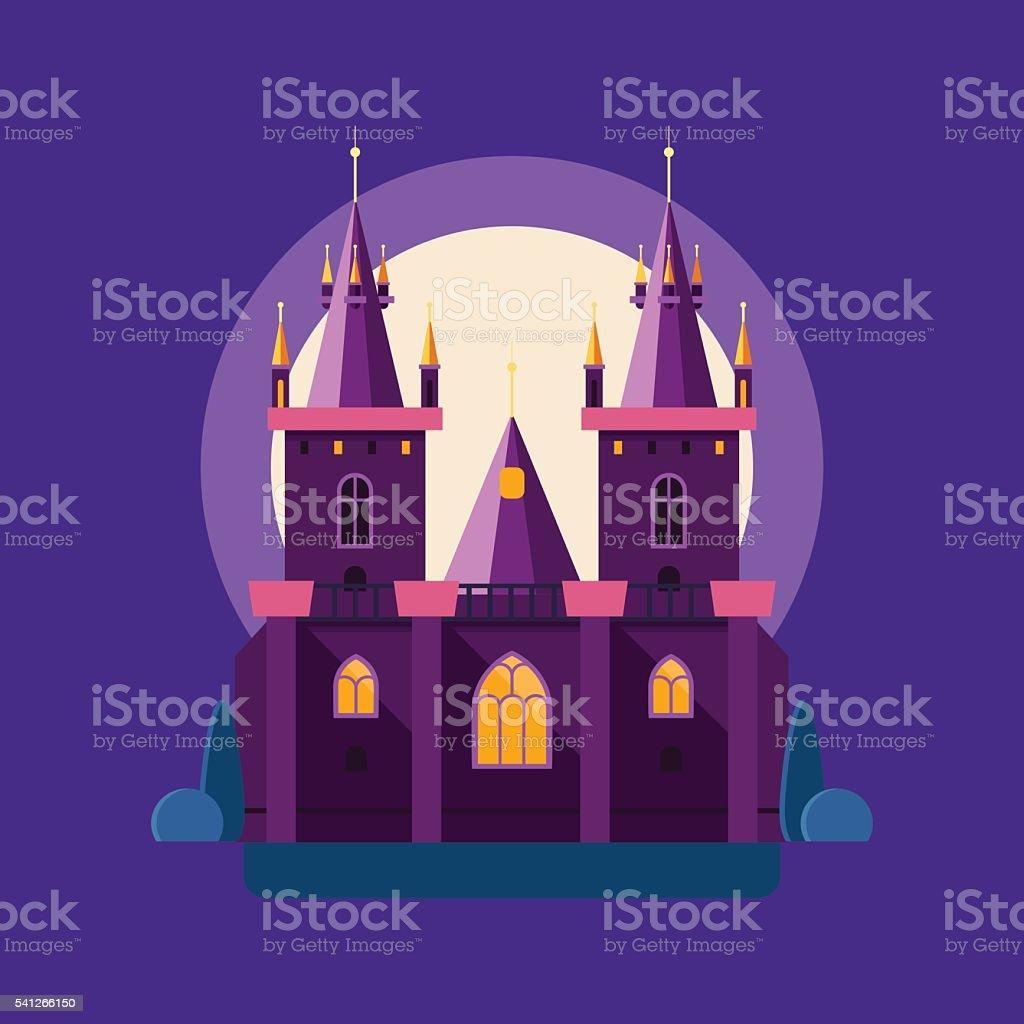 Vector illustration of a night medieval castle in linear flat vector art illustration