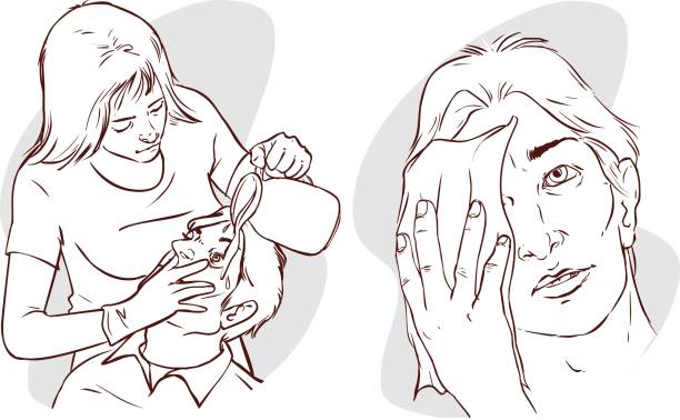 ilustrações de stock, clip art, desenhos animados e ícones de vector illustration of a nurse washing the patient's eyes with water - going inside eye