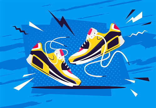 Vector illustration of a pair of athletic shoes on an active retro style background