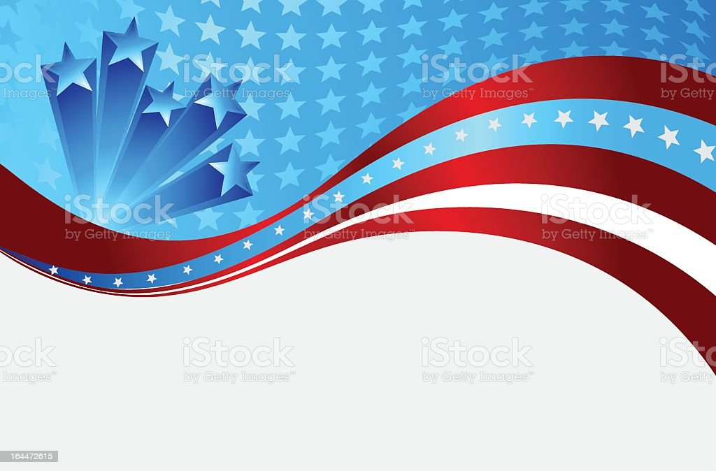 A vector illustration of a patriotic wave background royalty-free stock vector art