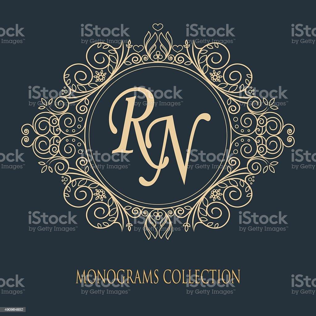 Vector illustration of a pattern monogram. Modern design. vector art illustration