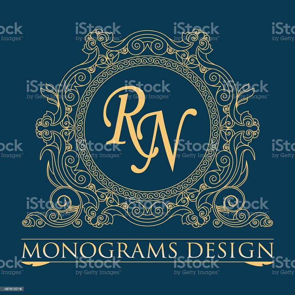 Vector illustration of a pattern monogram vector art illustration