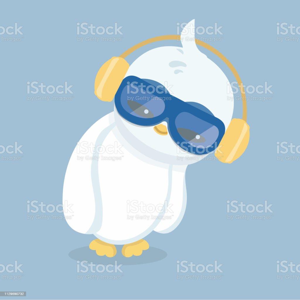 Ilustração em vetor de pinguim em fundo pastel. - ilustração de arte em vetor