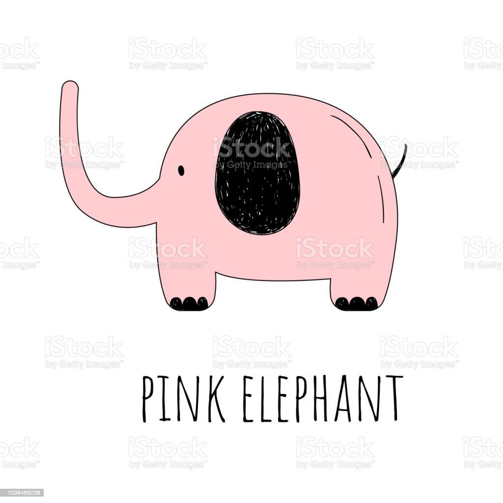 Vektorillustration Ein Rosa Elefant Die Cartoonstil Zeichnen Von
