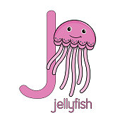 Vector illustration of a Pink Jellyfish isolated on white background. With the capital letter J for use as teaching materials Let children get to know the English alphabet.