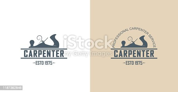 Color illustration of a carpenter workshop logo