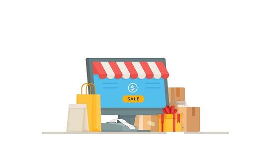 Vector illustration of a post office register. Online shopping.