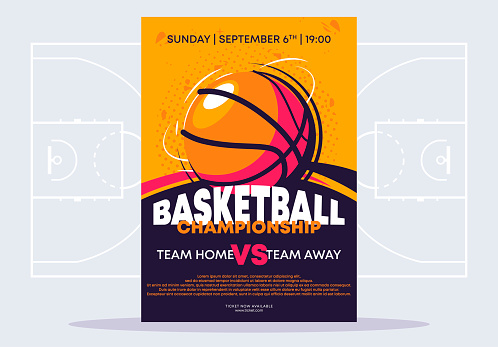Vector illustration of a poster template for a basketball tournament, an image of a basketball on a poster