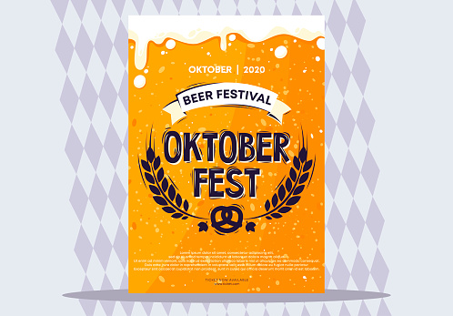 vector illustration of a poster template for Oktoberfest, beer festival, beer texture on the background