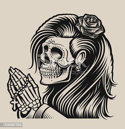 Vector illustration of a praying skeleton