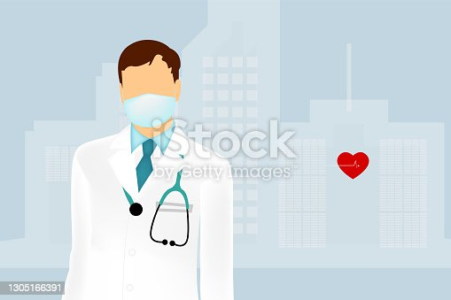 istock Vector illustration of a professional doctor in a white medical uniform with a stethoscope and in a medical mask. On the background of a hospital.м 1305166391