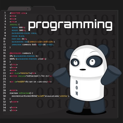 vector illustration of a programming code editor with a panda bear as a pet