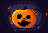 Vector illustration of a pumpkin for Halloween scary face with bats in the background