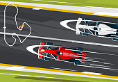 Vector illustration of a racing cars, formula, racing on the highway, top view sports high-speed automobile, Royal racing