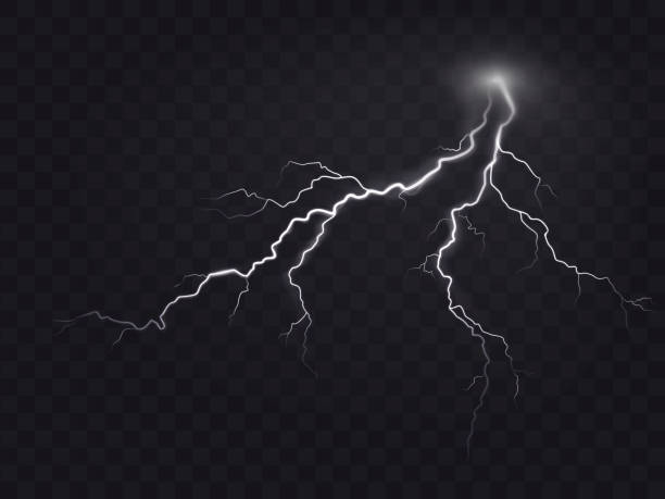 Vector illustration of a realistic style of bright glowing lightning isolated on a dark, natural light effect. Vector illustration of a realistic style of bright glowing lightning isolated on a dark translucent background, natural light effect. Magic white thunderstorm lightning, print, pattern, design element storm stock illustrations