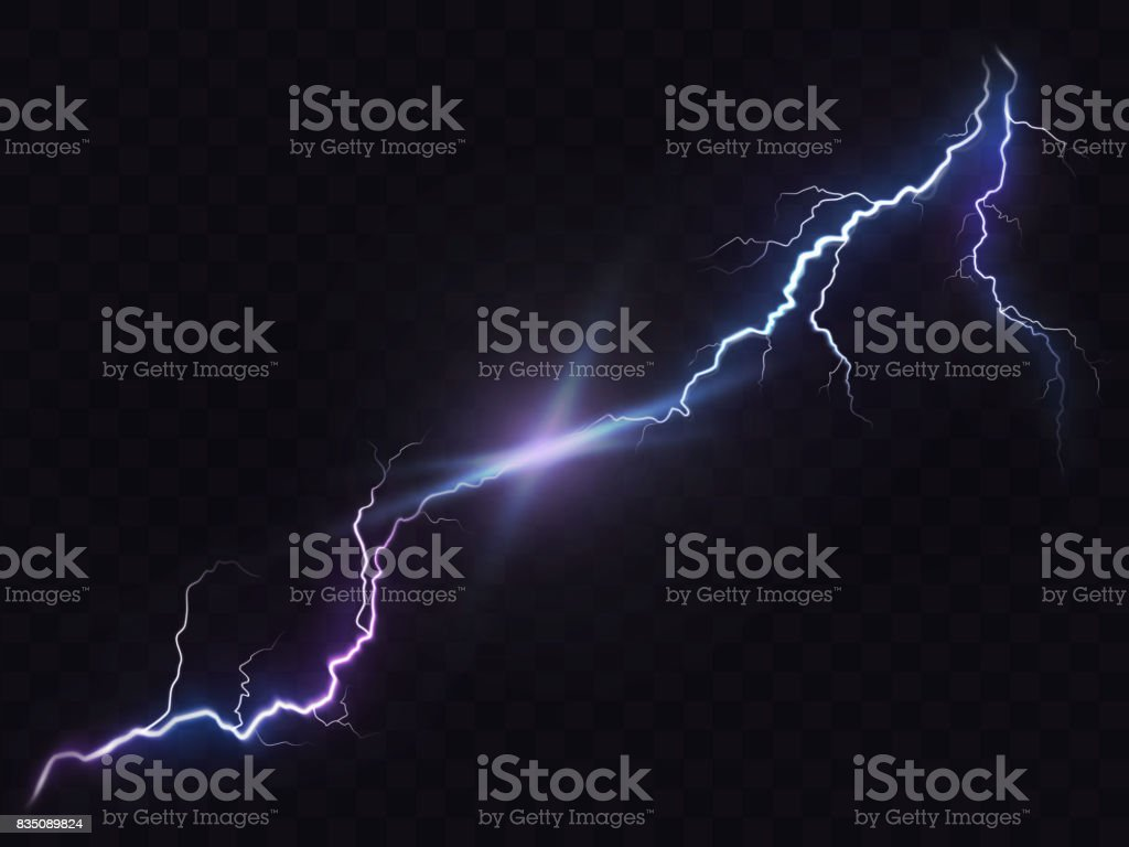 Vector illustration of a realistic style of bright glowing lightning isolated on a dark, natural light effect. vector art illustration