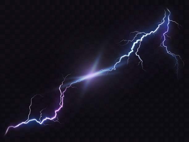 Vector illustration of a realistic style of bright glowing lightning isolated on a dark, natural light effect. Vector illustration of a realistic style of bright glowing lightning isolated on a dark translucent background, natural light effect. Magic white thunderstorm lightning, print, pattern, design element lightning stock illustrations