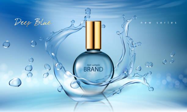 illustrazioni stock, clip art, cartoni animati e icone di tendenza di vector illustration of a realistic style perfume in a glass bottle on a blue background with water splash - spruzzo profumo