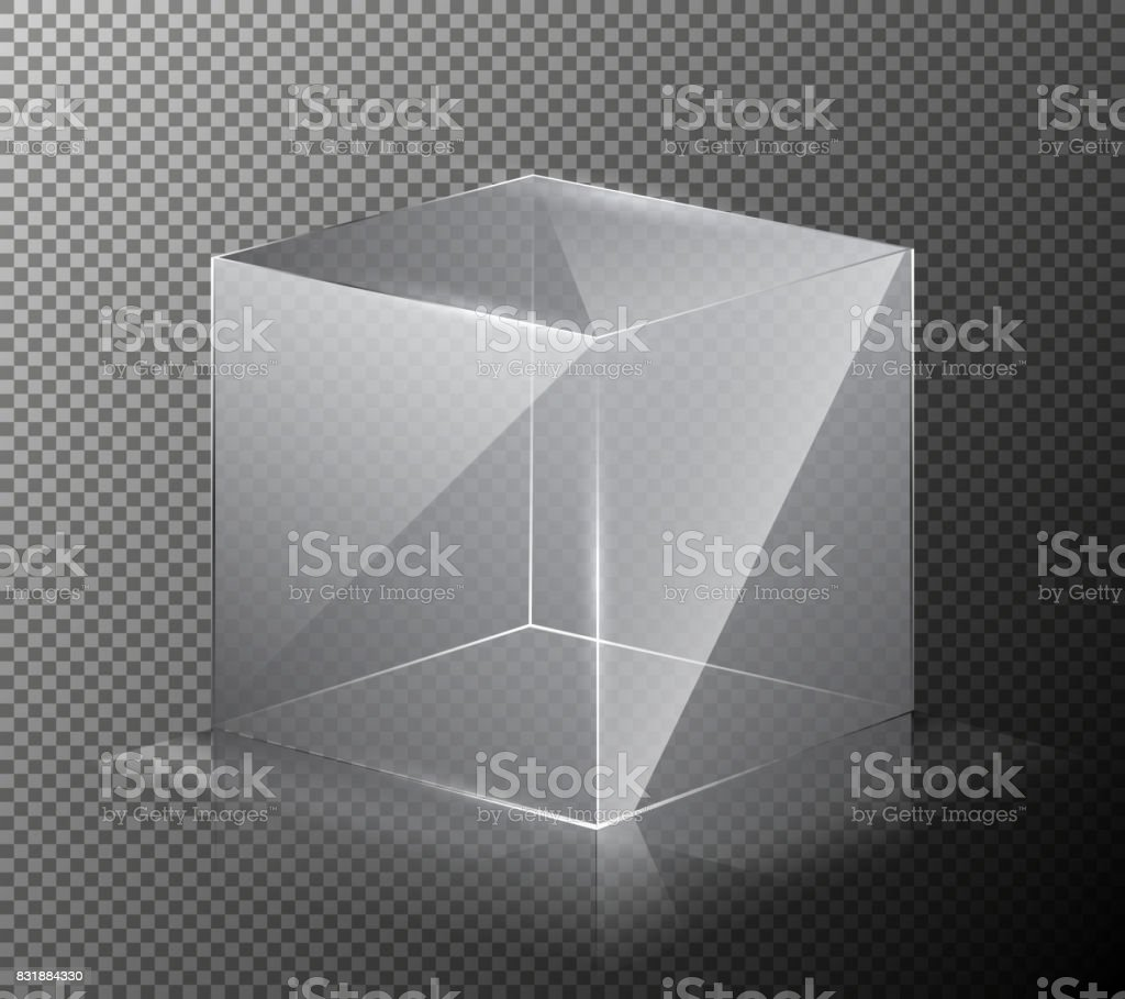 Vector illustration of a realistic, transparent, glass cube isolated on a gray background. vector art illustration