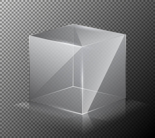 벡터 그림의 회색 배경에 고립 된 현실, 투명, 유리 큐브. - 반투명한 stock illustrations