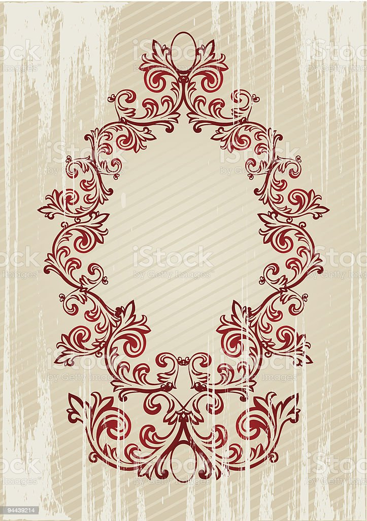 Vector illustration of a red abstract floral frame royalty-free stock vector art