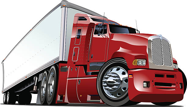 Vector illustration of a red and white semi truck vector art illustration