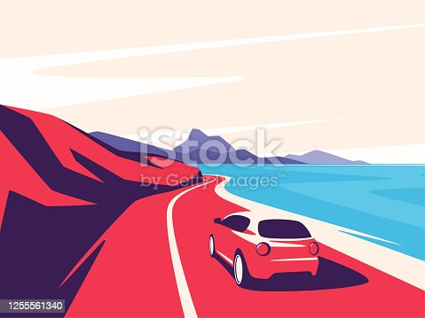 istock Vector illustration of a red car moving along the ocean mountain road 1255561340