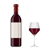 Vector illustration of a red wine bottle and glass isolated on white background. Alcoholic drink in flat cartoon style