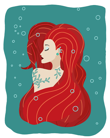 Vector illustration of a red-haired mermaid girl