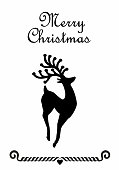 Beautiful rein deer with big horns in black on White background for christmas card or poster, flyer layout objekt.