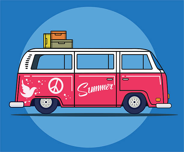 stockillustraties, clipart, cartoons en iconen met vector illustration of a retro travel van in flat style - hippie