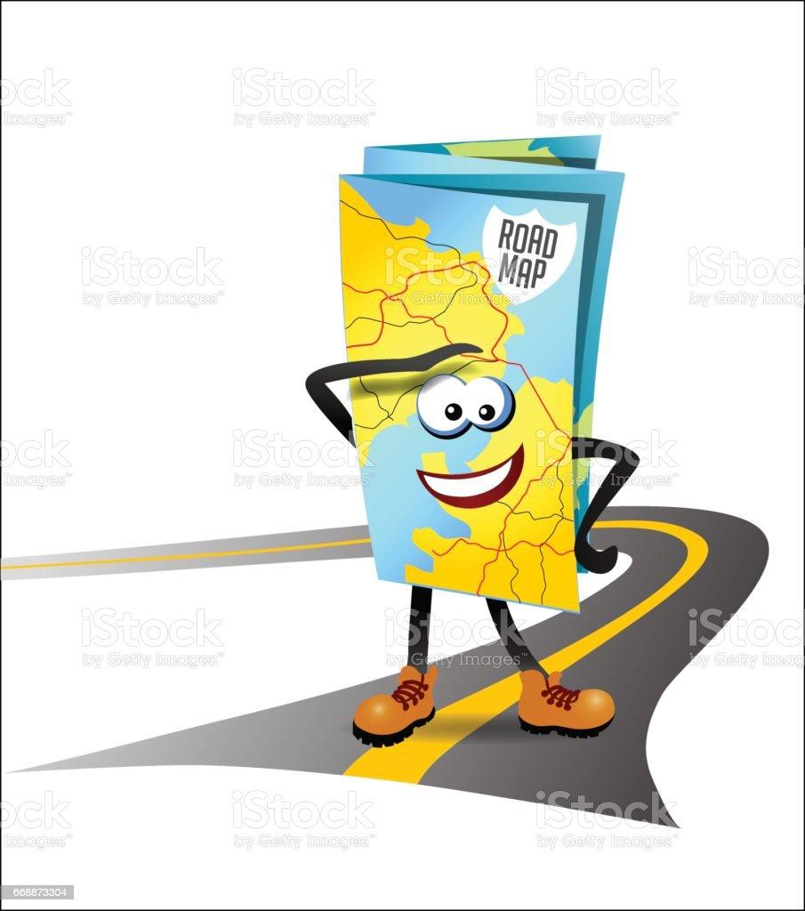 vector illustration of a road map as a cartoon character vector art illustration